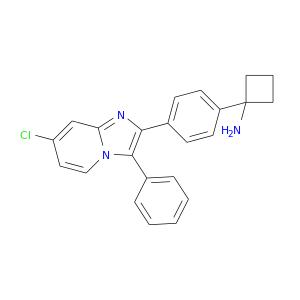 Clc1ccn2c(c1)nc(c2c1ccccc1)c1ccc(cc1)C1(N)CCC1