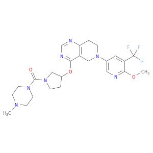 COc1ncc(cc1C(F)(F)F)N1CCc2c(C1)c(ncn2)OC1CCN(C1)C(=O)N1CCN(CC1)C