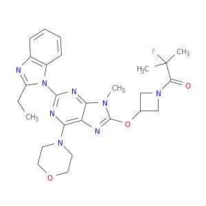 CCc1nc2c(n1c1nc(N3CCOCC3)c3c(n1)n(C)c(n3)OC1CN(C1)C(=O)C(F)(C)C)cccc2
