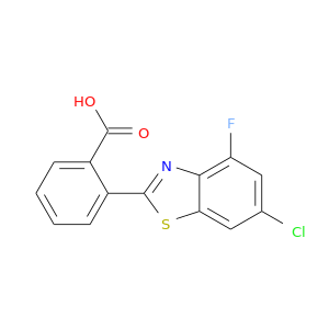 Clc1cc(F)c2c(c1)sc(n2)c1ccccc1C(=O)O