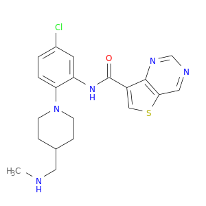 CNCC1CCN(CC1)c1ccc(cc1NC(=O)c1csc2c1ncnc2)Cl