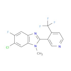 Clc1cc2c(cc1F)nc(n2C)c1cnccc1C(F)(F)F